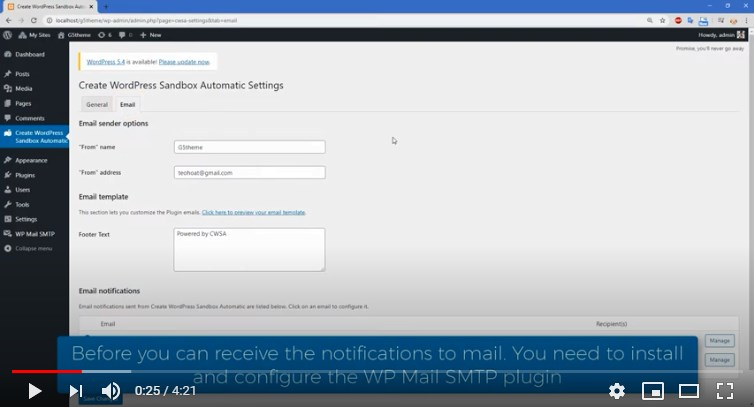How to config the Email to send email
